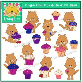 Calypso Kitten Cupcake Treats CU Clipart