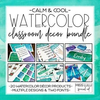 Calm & Cool Watercolor Classroom Decor Bundle