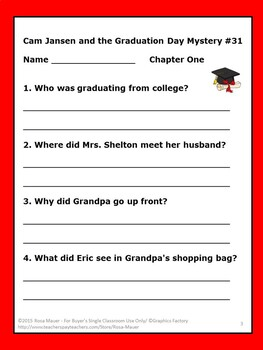 Cam Jansen Graduation Day Mystery Book Unit