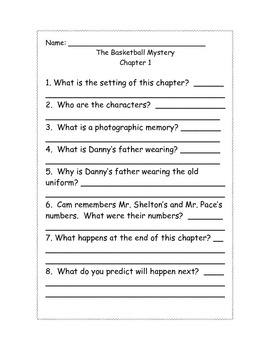 Cam Jansen The Basketball Mystery comprehension Questions