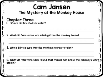 Cam Jansen The Mystery at the Monkey House NOVEL STUDY