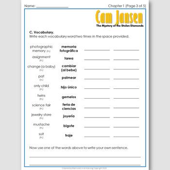 Cam Jansen #1, an English Novel Study for Spanish Speakers