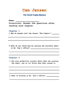 Cam Jansen The Tennis Trophy Mystery Comprehension Questions