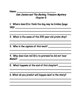 Cam Jansen and The Barking Treasure Mystery comprehension questions