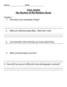 Cam Jansen and The Mystery of The Monkey House Reading Comprehension packet
