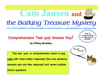Cam Jansen and the Barking Treasure Mystery Comprehension Test, Quiz, or Check