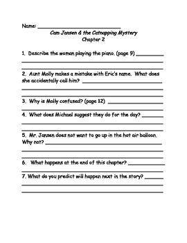 Cam Jansen and the Catnapping Mystery comprehension questions