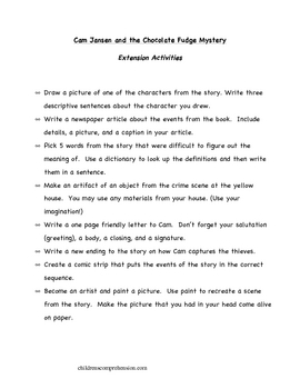 Cam Jansen and the Chocolate Fudge Mystery Comprehension Packet