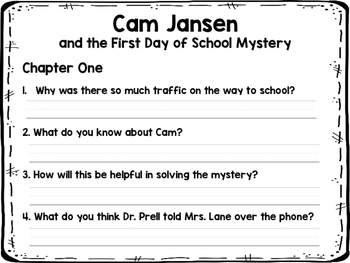 Cam Jansen and the First Day of School Mystery Novel Study