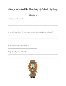 Cam Jansen and the First Day of School Mystery Student Response Packet