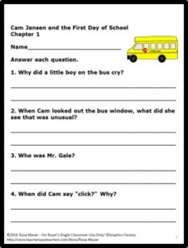 Cam Jansen and the First Day of School Mystery by David A. Adler Book Unit