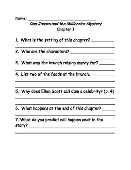 Cam Jansen and the Millionaire Mystery Comprehension Questions