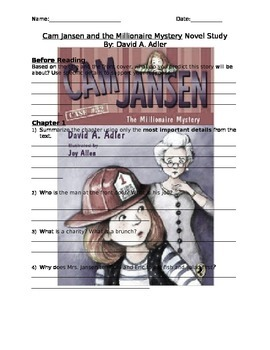 Cam Jansen and the Millionaire Mystery Novel Study
