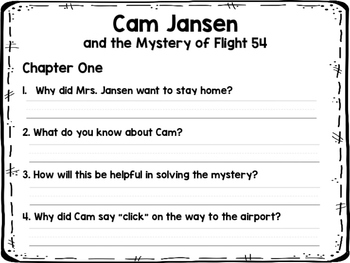 Cam Jansen and the Mystery of Flight 54 NOVEL STUDY