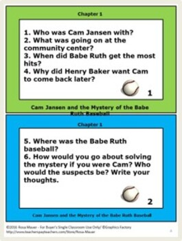 Cam Jansen and the Mystery of the Babe Ruth Baseball Book Unit
