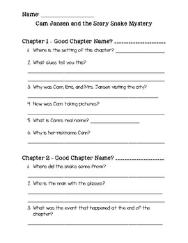 Cam Jansen and the Scary Snake Mystery Comprehension Packet