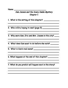 Cam Jansen and the Scary Snake Mystery comprehension questions