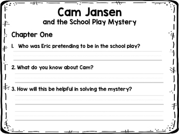 Cam Jansen and the School Play Mystery NOVEL STUDY