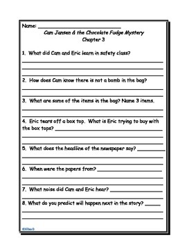 Cam Jansen And The Chocolate Fudge Mystery Worksheets