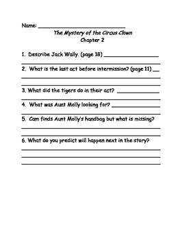 Cam Jansen:The Mystery of the Circus Clown reading comprehension questions