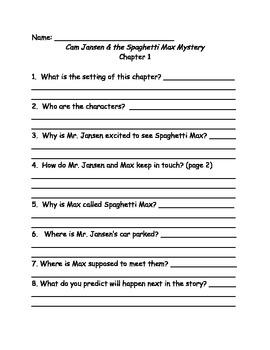 Cam Jasen and the Spaghetti Max Mystery comprehension questionsJansen