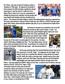 Cam Newton Biography Reading Comprehension Worksheet, Football, Super Bowl