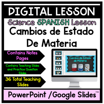 Cambios De Estado de Materia (Changes of Matter)  with Notes
