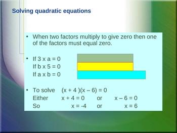 Cambridge International Mathematics PPT 50   – Quadratic Equations