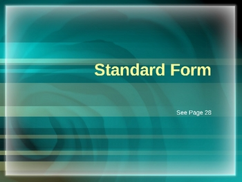 Cambridge International Mathematics PPT Fifteen –Standard Form