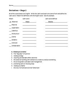 Cambridge Latin Course Derivatives Sheets Unit 1