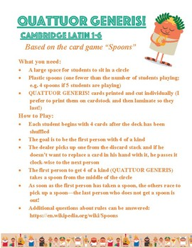 Cambridge Latin Course Quattuor Generis Card Game Stages 1-6