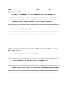 Cambridge Latin Course Vocabulary Quizzes and Word Study for stages 21-28