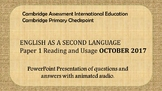 Cambridge Primary Checkpoint ESL P1 October 2017 Practice for Distance Learning