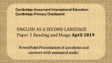 Cambridge Primary Checkpoint ESL P1 Exam Practice for Distance Learning.