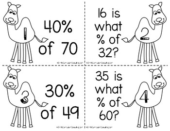 Camel Calculations- Percent Proportions Task Cards- Aligned to CCSS and TEKS