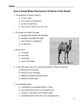 Compare/Contrast: One Hump/Two Hump Camels w/ 10 Comprehension + Vocab Questions