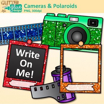 Cameras and Polaroids Clip Art {School Yearbook, End of Year, Scrapbooking Use}