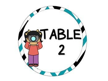 Camera Kids Table Numbers 1-4