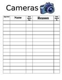 Camera Sign In/Out Sheet (Year Book)