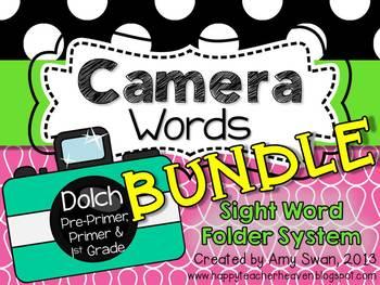 Camera Words BUNDLE - DOLCH Sight Word Folder System - Eng