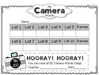 Camera Words BUNDLE - FRY Sight Word Folder System - Engage Parents!