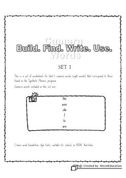 Camera Words Set 1 - Build, Write, Find, Use.