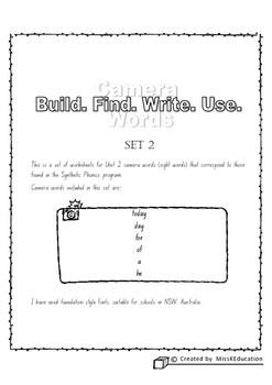 Camera Words Set 2 - Build, Write, Find, Use.