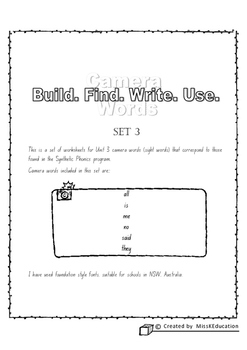 Camera Words Set 3 - Build, Write, Find, Use.