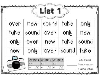 Camera Words - FRY 101-150 Sight Word Folder System - Engage Parents!