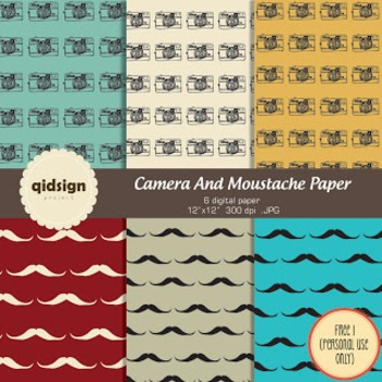 Camera and Moustaches Digital Paper