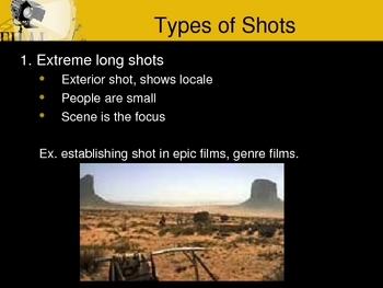 Camera angles and film shots notes