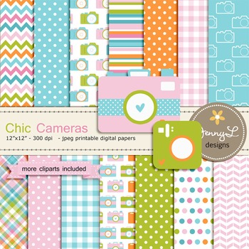 Camera digital paper and clipart