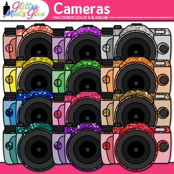 Camera Clip Art {Rainbow Glitter Devices for Digital Photography & Technology}