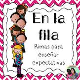 En la fila - Spanish classroom management poems for lining up